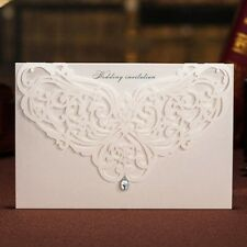 White Paper Cutting Rhinestone Wedding Invitations Cards with Envelopes, Seals