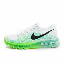 WMNS Nike Flyknit Max [620659-101] Running White/Black-Electric Green-Mint
