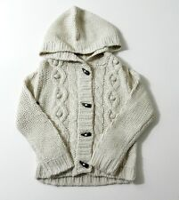 Arran Chunky Knit Hooded Cardigan Toggle Buttons Pockets Size 12m-7 Yrs