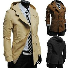 NEW MENS FASHION CASUAL DOUBLE BREASTED TRENCH SLIM FIT LONG COAT HOODIS JACKET