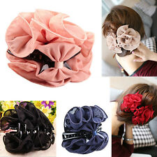 Korean Womens Fascinating Chiffon Rose Flower Bow Jaw Clip Barrette Hair Claw