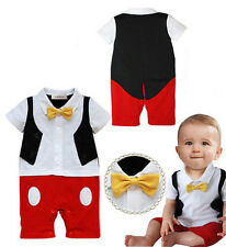 Baby Boy 3D Bowtie Mickey Mouse Photo Prop Romper Onesie Outfit, NEW