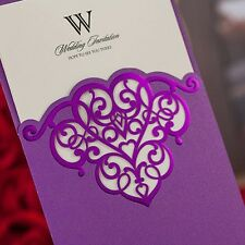Bright Purple Shiny Hollow Pattern Wedding, Party, Baptism Invitations Cards