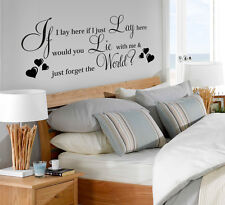 "Vinyl Wall LARGE ""IF I LAY HERE SNOW PATROL""Art Quote Wall Sticker Decal heart 2"