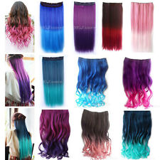 Straight Wavy Curly 3/4 Full Head Clip in Wigs One Piece 5 Clips Ombre