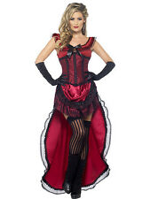 LADIES WESTERN AUTHENTIC BROTHEL BABE BURGANDY SALOON BURLESQUE DRESS COSTUME