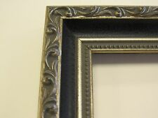 Antique Black Crackle w/ Silver and Beads Custom-Made Wood Picture Frame (#9483)