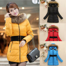 Winter Women Warm Fur Collar hooded Down Jacket hoodie quilted Puffer Coat parka