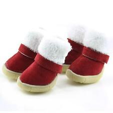 Red Pet Small Dog Snow Boots Shoes Puppy Rubber Sole Winter Warm Boots XS-XL B92