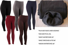New Plus Size Fleece Lined Solid Warm Thick Leggings Footless 1X 2X 3X