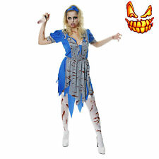 Adult Alice Zombie Horror Bloody Halloween Fancy Dress Costume In Wonderland