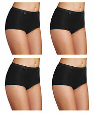 Womens Sloggi Basic Maxi Briefs - 4 Pack - Black - Sizes 12-30 Available