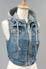 Women Junior Blue Hoodie Denim Jeans vest S,M,L Ci sono Cavalini fashion Button