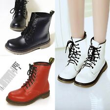 NEW Round Toe Low Heel Combat Military Lace Up Mid Calf Punk Ankle Women's Boots