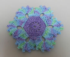 Crochet Stitch Hand Dyed Thread Applique Funky Flowers Purples Embellishments