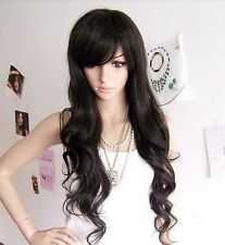 HOT sexy Women lady 3 color long curly full Wigs bang 50% human hair wigs PO190