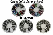 Crystals Colour Clear AB in a wheel for nail art Acrylic nails Gel Polish Gel