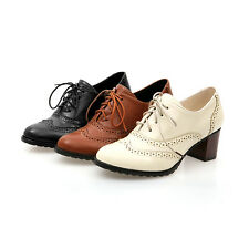 fashion womens brogue lace up low thick heel oxfords retro boat shoes