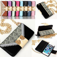 Lace Wristlet handbag Leather Flip Wallet Cover Case For iPhone 6 Plus / 6 5S 4S