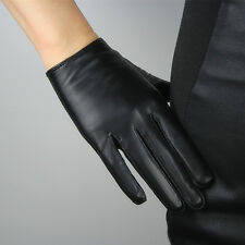 Real Leather Short Gloves Black Genuine Lambskin Sheepskin Women Basic Handmade