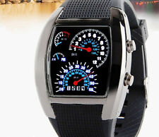 NEW Sports RPM Turbo Blue & White Flash LED Car Speed Meter Dial Men Gift Watch