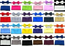 Men's Solid Satin Pre-Tied Bow Tie and Matching Pocket Square Handkerchief Set