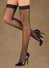 BLACK FISHNET THIGH HI WITH STAY UP SILICONE TOP CHOICE ONE SZ & PLUS SZ