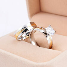 Forever Love Gold Crystal Couple Rings His and Her Promise Rings Wedding Rings