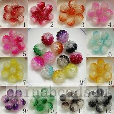 20pcs 14x16MM Bicolors Crystal Acrylic Berry Resin Rhiestone Beads