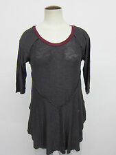 FREE PEOPLE INTIMATELY WEEKENDS CHARCOAL LAYERING LIGHTWEIGHT SHEER KNIT TOP