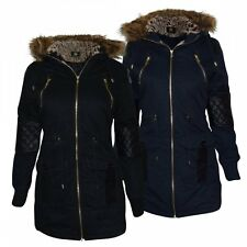 Ladies Womens Oversized Hood Soft Fur Parka Quilted Leather Arms Jacket Coat