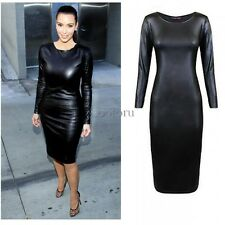 Ladies Womens Wet Look Midi Faux Leather Dress Bodycon Long Sleeves Fitted Black