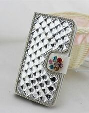 3D Diamond Crystal PU Leather Flip Cover Credit Card Wallet Case for BlackBerry