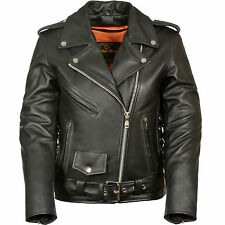 Ladies Motorcycle Premium Leather Jacket with Zipout Liner