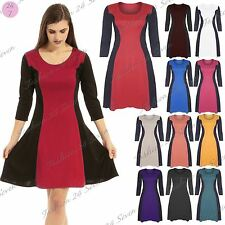 Women Ladies 3/4 Sleeve Slimming Effect Contrast Flared Skater Dress Plus Size
