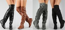 New Women's Fashion Flat Round Toe Slouchy Over The Knee Thigh High Boots Shoes