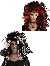 New Womens Ladies Deluxe Gothic Vampire Wig Glamour Witch Halloween Fancy Dress