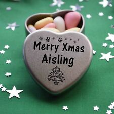 Merry Xmas Aisling Mini Heart Tin Gift Present Happy Christmas Stocking Filler