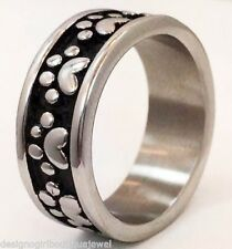 Silver Paw Print Ring Dog Cat Bear 316 Stainless Steel Band SZ 6-10 Black