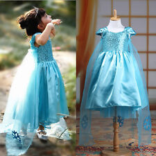 Baby Girls Kids Christmas Party Frozen Costume Snowflake Tulle Tutu Dresses 3-8Y