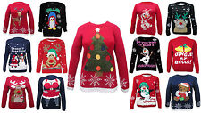 LADIES MENS KNITTED CHRISTMAS JUMPERS 3D NOSEGOOGLY EYES/DO YOU WANT PLUS SIZES