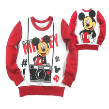 100%Cotton Mickey Mouse Baby Girls Kids Red Soft Long Sleeve T-Shirt/Shirt New