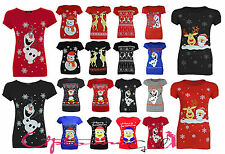 NEW WOMEN LADIES XMAS NOVELTY OLAF PENGUIN SANTA REINDEER RUDOLF TSHIRT TOP 8-14