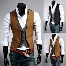 Fashion Men's Casual V-neck Double Layered Slim Fit Vest Waistcoat Jacket Top