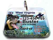 West Virginia vanity drivers license dog cat custom novelty pet tag by ID4PET