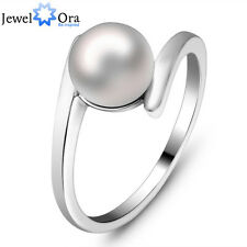 Fashion Pearl Rings For Women RI100586 Elegant Stainless Steel Pearl Ring