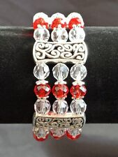 """TIBETAN SILVER AND GLASS BEAD STRETCHY BANGLE / BRACELET - VARIOUS COLOURS 7.5"""""""