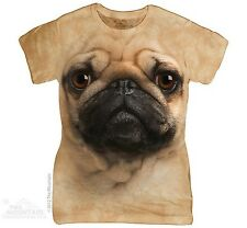 Pug Dog Face The Mountain Women Ladies Size T-Shirts