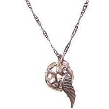 ilver Angel Calling Bell Angel Wing Charm Pendant Necklace With Silver Chain