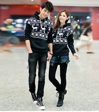 Hot Korean Style Deer Printed Lovers Sweater Hoodie Couple Dress Lover's Clothes